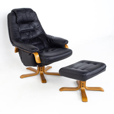 Gote Mobler Mid Century Swedish Black Leather Swivel Lounge Chair and Ottoman - mcm by ModernHill