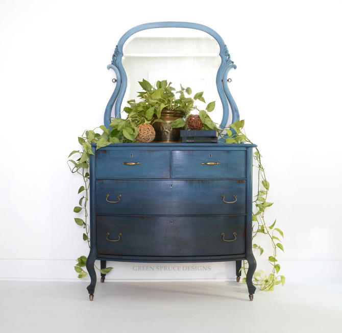 SOLD SOLD Blue Bohemian Ombre Vintage Antique Dresser - Chest of Drawers Vanity with Mirror Modern Boho Farmhouse Coastal Painted Dresser by GreenSpruceDesigns
