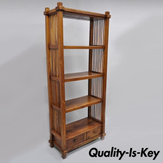 Tall Narrow Mission Arts & Crafts Style Teak Wood Bookcase Book Shelf Stand