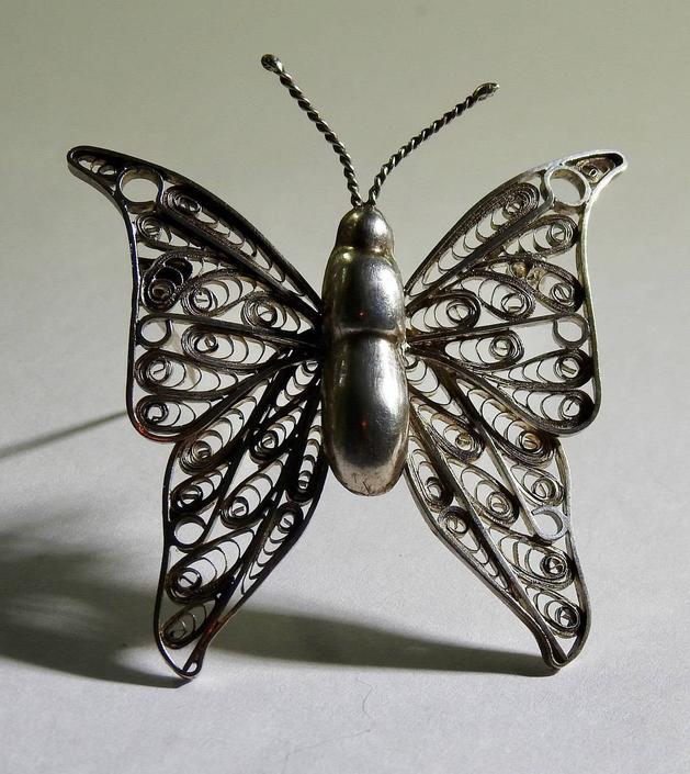 Silver Filigree Butterfly Brooch Peru by LegendaryBeast