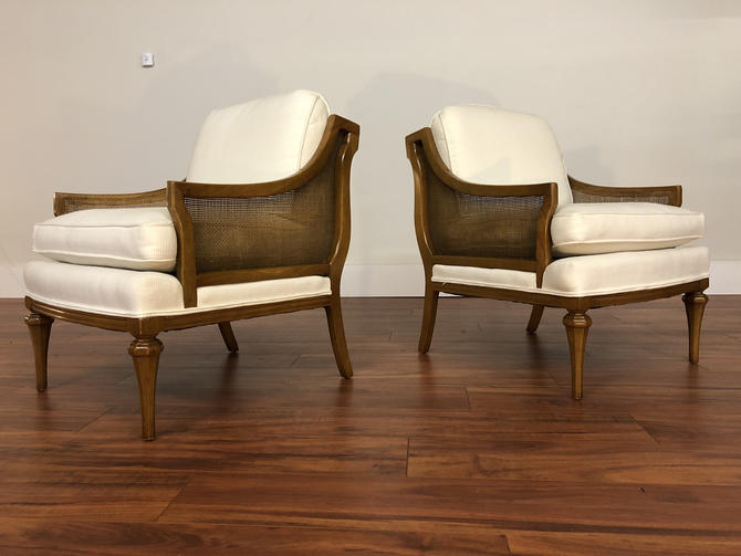 Vintage 1970s Walnut and Cane Armchairs - a Pair by Vintagefurnitureetc