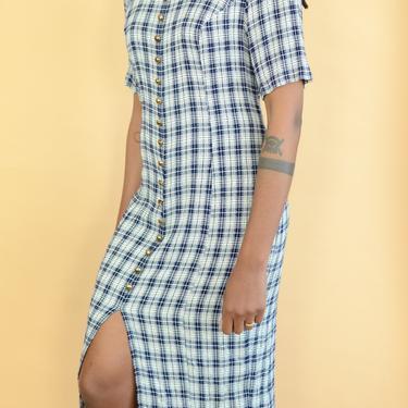 Vintage Blue & White Tartan Plaid Button Down Tie Back Dress by MAWSUPPLY