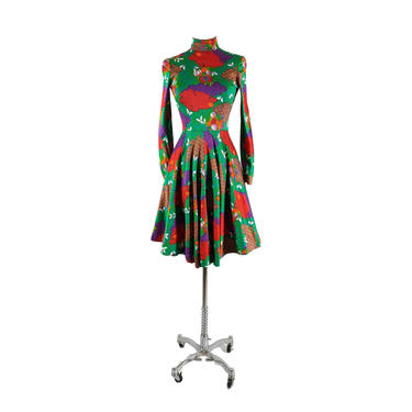 geoffrey beene | vintage 1970s 1980s novelty print dress | vtg 70s 80s fit flare | xs/s | extra small/small by danevintage