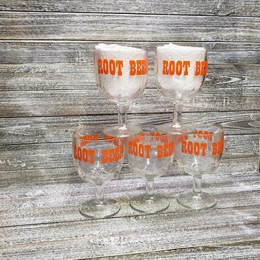 Vintage Root Beer Stem Goblet Glasses, 1970's Retro Coin Dot Drinking Glasses, Root Beer Float Pedestal Bowls, 70's Living, Vintage Kitchen by AGoGoVintage