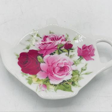 Vintage Pink Colored Floral Rose Porcelain Tea Bag Holder Shaped tea pot -Inspiration Canada by JoAnntiques