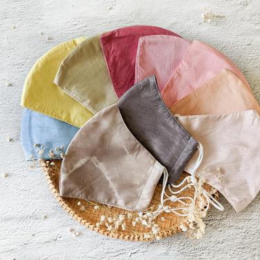 Raw silk face masks for wedding, Handmade silk mask Mulberry, Natural hand dyed mask for women elegant, Dressy plant dye silk masks for men by APattesDeVelours
