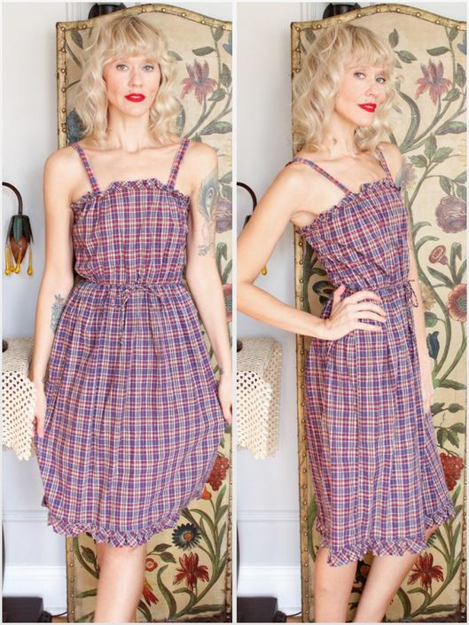 1970s Dress // Plaid Fall Dress // vintage 70s cotton dress by dethrosevintage