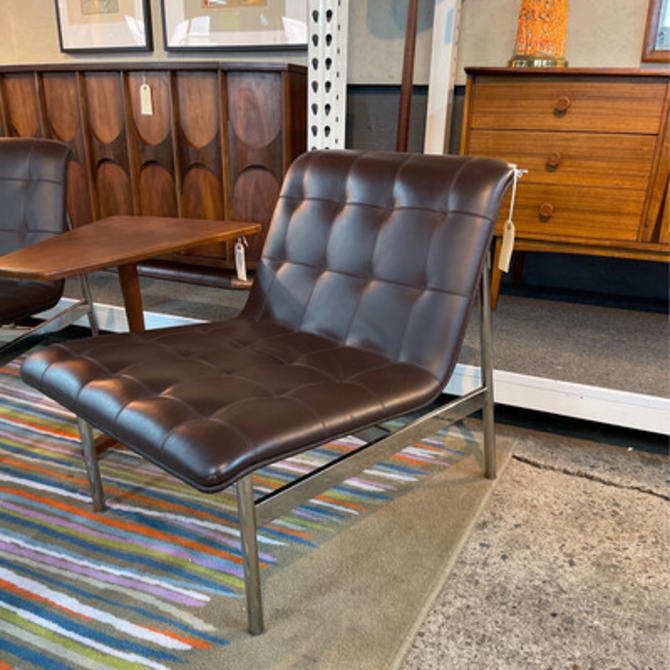 Pair Contemporary Brown Leather Lounge Chairs