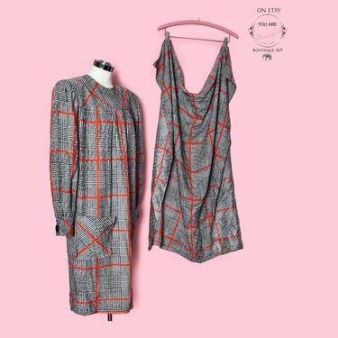 Adele Simpson Designer Vintage Dress & MATCHING Scarf Wrap, 1980's, Black White Red Print Silk, Large, Medium, Size 12 by Boutique369