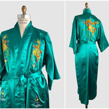 GOLDEN DRAGON Vintage 80s 90s Chinese Mens Robe | 1980s Golden Bee Green Satin Embroidered Smoking Jacket | Asian Loungewear | Mens Large by lovestreetsf
