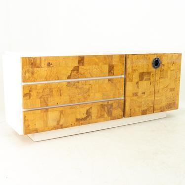Milo Baughman for Lane Mid Century Laminate Burlwood and Chrome 6 Drawer Lowboy Dresser by ModernHill