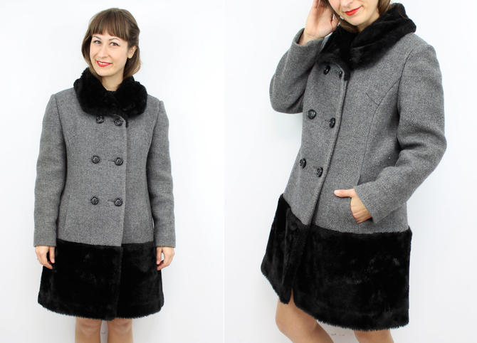 03575a918ba0e Vintage 60's 70's Black and Grey Wool Teddy Bear Jacket / 1970's Faux Fur  Coat / Betty Rose / Women's Size Small by RubyThreadsVintage