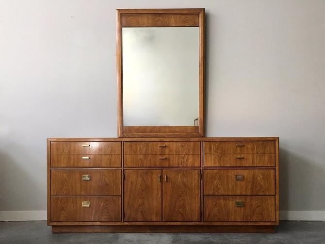 vintage mid century Drexel Consensus triple dresser with mirror.