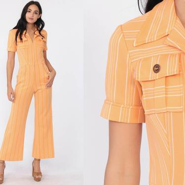 Bell Bottom Jumpsuit Orange STRIPED Pants Boho 70s Deep V Neck Front Zip Disco Bohemian One Piece Vintage Pantsuit Extra Small xs by ShopExile