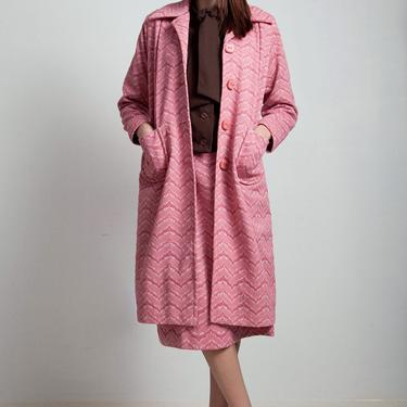 vintage 70s coat skirt top 3-piece matching set ascot blouse texture zigzag brown rose pink poly knit MEDIUM LARGE M L by shoprabbithole