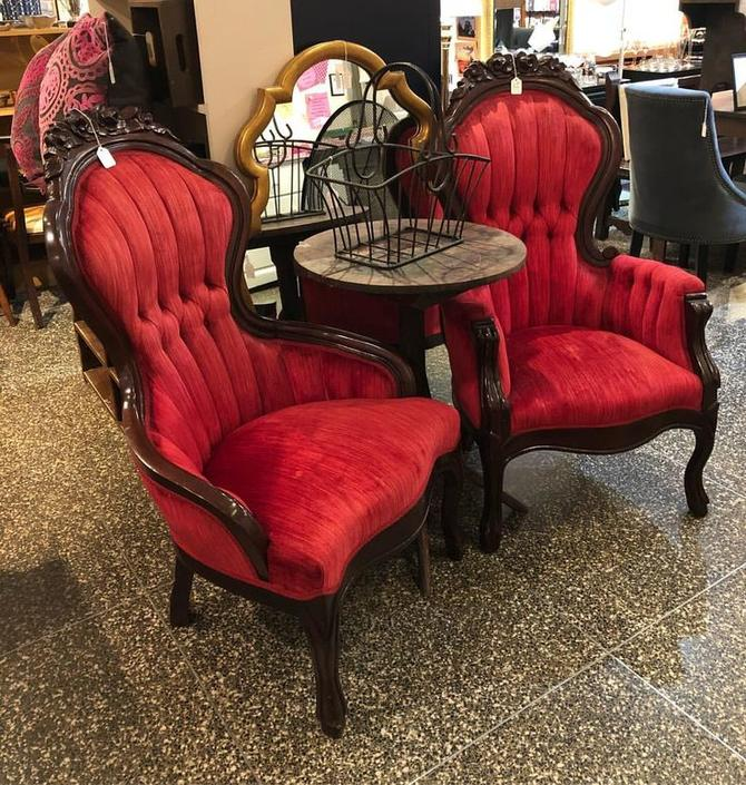 Fabulous red Victorian crushed velvet chairs! $110 each