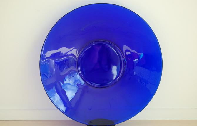 Vintage Extra Large Cobalt Blue Glass Plate/Shallow Bowl 15 inches by MidCentury55