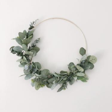 Year Round Wreath, Soft sage green hoop wreath, Eucalyptus and Lambs Ear modern wreath, Everyday simple wreath, Neutral Nursery Decor by NovaWreaths