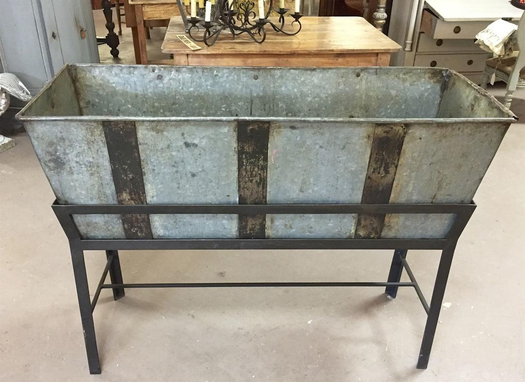 Sold Antique Trough Feeder W Stand Planter Drink Cooler