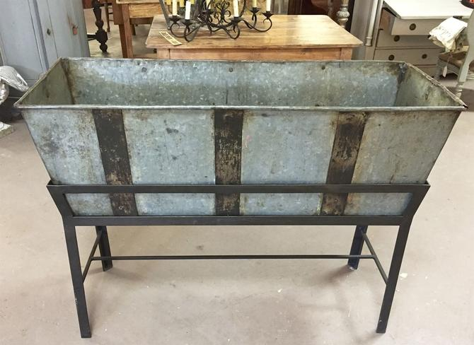 SOLD. Antique Trough/Feeder w/Stand | Planter Drink Cooler Ice Bucket | Farm Décor