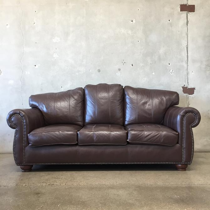 The Leather Factory Brown Leather Three Seater Sofa