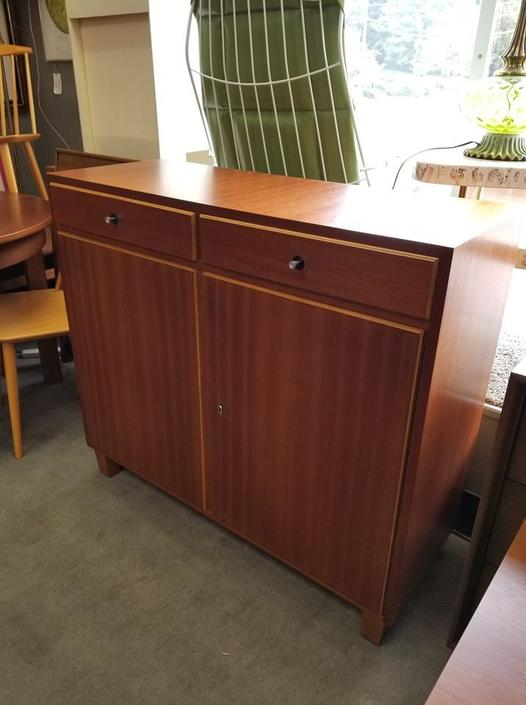 Danish Modern Makore wood bar cabinet