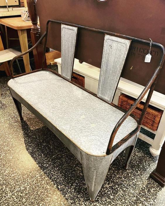 """Galvanized bench, 44""""L x 16""""W x 35""""T,"""