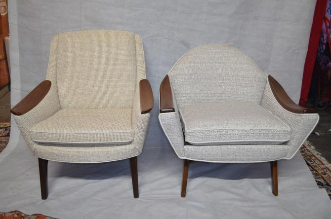 Mid Century Modern Adrian Pearsall His and Hers Lounge Chairs with Walnut Arm Rests
