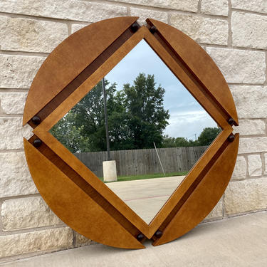 Large 80s Art Deco Style Wall Mirror in Round Wooden Frame, Two Tone Finish and Orb Accents, by Hickory White Furniture by PrimaForme