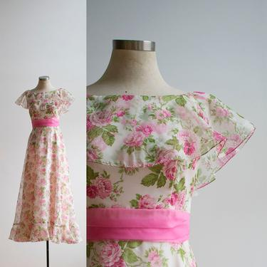 Vintage 1970s Maxi Dress / Floral Gown / Vintage Floral Gown / 1970s Bridesmaid Dress / Formal Vintage Gown / Long Vintage Dress Small by milkandice