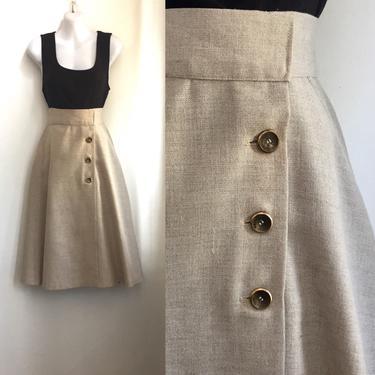 Vintage 1970's LINEN WRAP Skirt / High Waist + Pockets / Secretary Style by CharmVintageBoutique