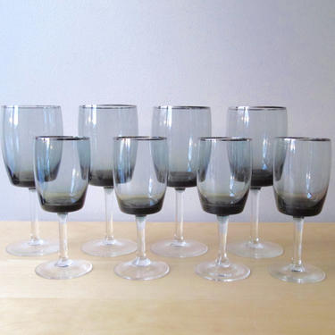 midnight mist gorham crystal smoke and silver rim wine glasses water goblets by ionesAttic