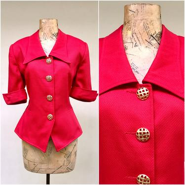 """Vintage 1990s Short Sleeve Blazer, Red Cotton Piqué Fitted Hourglass Jacket, Structured I. Magnin Top, Medium Size 10 38"""" Bust by RanchQueenVintage"""