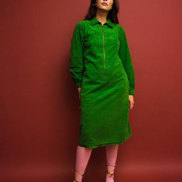 vintage 1970s Halston kelly green zipped front ultra suede dress by FlowerInTheMirror