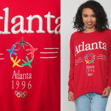 Atlanta Olympics Shirt 1996 USA Olympics Sweatshirt Crewneck Sweatshirt 90s Sweatshirt Red Slouchy 1990s Vintage Sweat Shirt Small Medium by ShopExile