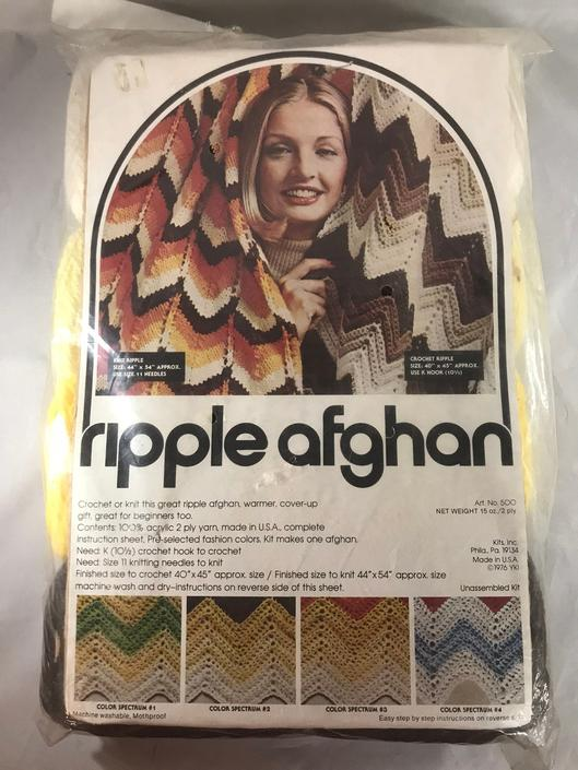 Crafts Afghan Knitting Crochet Kit Ripple Pattern Sealed 1976 Vintage New Old Stock! by accokeekpickers
