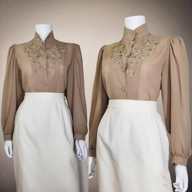 Vintage Embroidered Crepe Blouse, Medium / Beige Cutout Prairie Blouse / Sheer Cocktail Blouse / Long Sleeve See Through Dressy Top by SoughtClothier