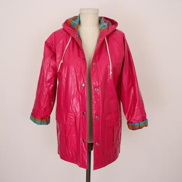 1990s Kids Polyvinyl Raincoat/ Vintage Childrens Jacket/ 90s Hot Pink Jacket/ Misty Harbor Rain Slicker/ Punky Brewster Jacket/ Kids Size 14 by FemmeAndFauna