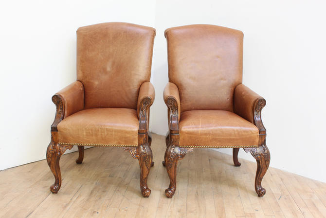 Leather Wingback Chippendale Chairs Pair Saddle Leather Carved by 330ModernAntique
