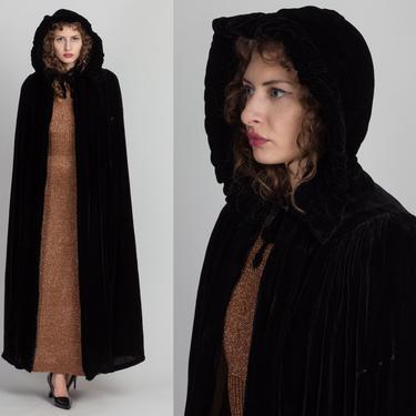 Vintage 1930s Hooded Silk Velvet Opera Cape - Small | Antique 30s Long Black Formal Evening Wear Coat by FlyingAppleVintage