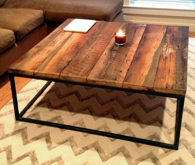 Free Shipping! Large square coffee table with industrial metal base by BarnWoodFurniture