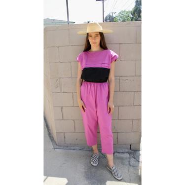 Echo Park Jumpsuit // vintage high waist boho hippie cotton purple black hippy 80s new wave minimalist // S/M by FenixVintage