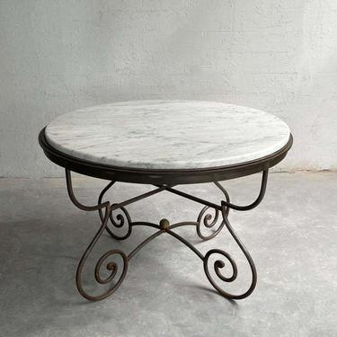 Hollywood Regency Scrolled Steel And Marble Dining Table