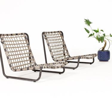 Vintage Mid Century Brown Jordan Aluminum Patio Lido Sand Chairs — Brown + Tan — Pair by atomicthreshold