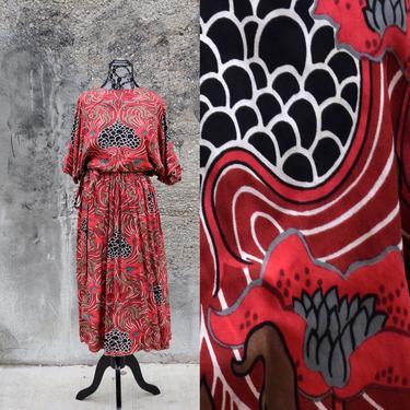 Designer Vintage 50s Dress | Red Dress | Novelty Print Dress | Small Dress S | Size 6 Dress | Claire McCardell | Kimono Dress MidCentury by aphroditesvintage