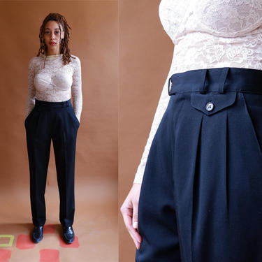 Vintage 80s Black Trousers/ 1980s Neiman Marcus High Waisted Pleated Front Dress Pants with Coin Pocket/ Minimalist Pants/Menswear/ Size 27 by bottleofbread