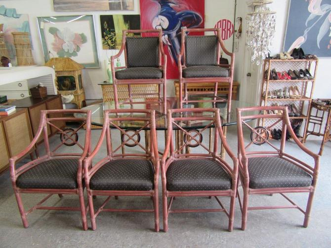 McGuire Set of 6 Rattan Target Chairs