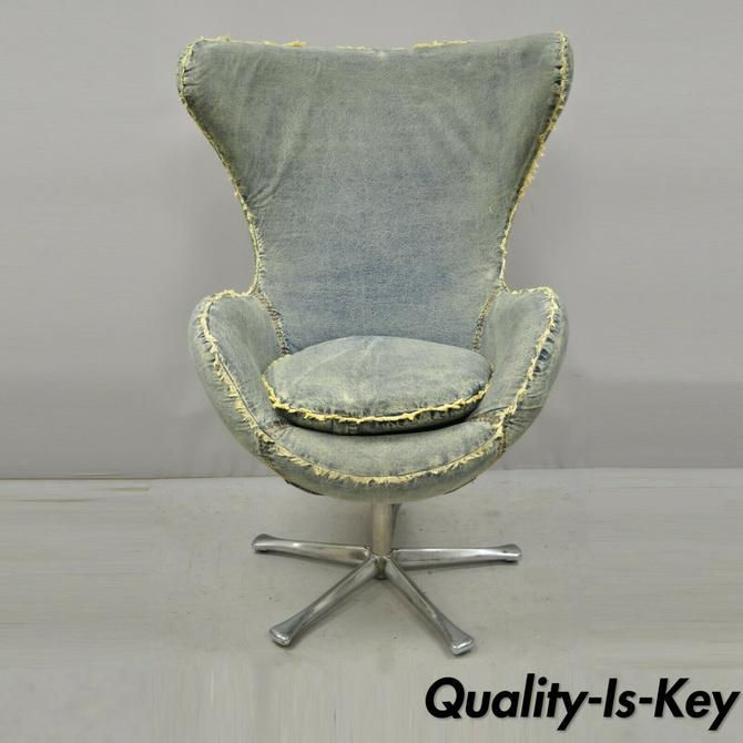 Sarreid Blue Denim Mid Century Modern Arne Jacobsen Egg Style Lounge Chair