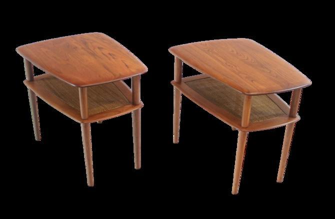 """Pair of Scandinavian Modern Soli Teak """"Minerva"""" Side Tables by Peter Hvidt"""