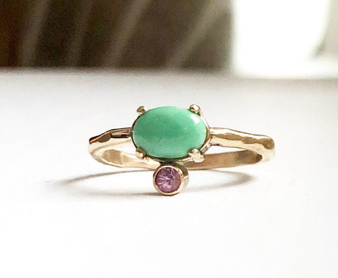 Handmade Turquoise and Pink Sapphire 14k Solid Gold Ring by RachelPfefferDesigns